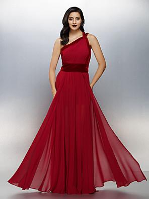 ts couture® Abendkleid plus Größe / zierlich a-line eine Schulter bodenlangen Chiffon / Samt mit Seiten Drapierung