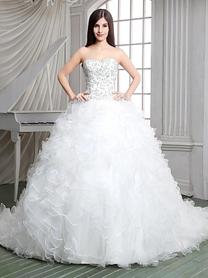 Princess Wedding Dress Cathedral Train Strapless Lace / Satin / Tulle / Knit with