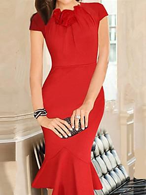 שמלת סיבוב הבציר של נשים פרח צוואר, כותנה תערובות כחולה / אדום / שחורה / מזדמן / מפלגה / עבודה ירוקה