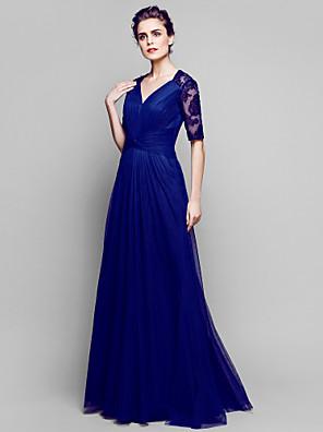 Lanting Bride® A-Linie Větší velikosti / Malé Šaty pro matku nevěsty Na zem Poloviční rukáv Krajka / Tyl - Aplikace / Nabírání / Boční