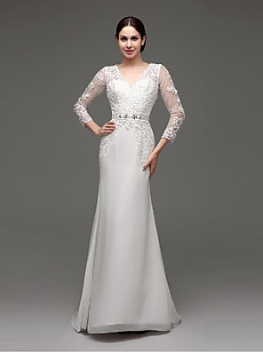 Linha A Vestido de Noiva Transparências Cauda Escova Decote V Chiffon / Renda com Com Apliques / Faixa / Fita