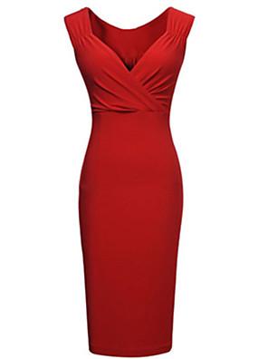 קיץ פוליאסטר אדום / שחור ללא שרוולים עד הברך V עמוק אחיד סקסי מסיבה\קוקטייל שמלה צינור נשים מיקרו-אלסטי בינוני (מדיום)