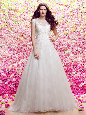 Lanting Bride Lanting A-line/Princess Wedding Dress - Ivory Sweep/Brush Train Scoop Lace / Tulle