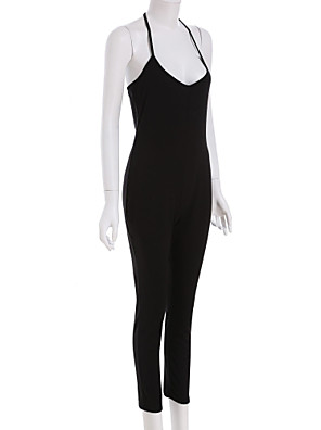 Damen Jumpsuits  -  Sexy/Strand/Leger/Party/Arbeit Ärmellos Polyester/Baumwoll-Mischung Mikro-elastisch
