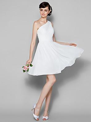 Lanting Bride® באורך  הברך ג'ורג'ט שמלה לשושבינה - גזרת A כתפיה אחת פלאס סייז (מידה גדולה) / פטיט עם בד נשפך בצד / בד בהצלבה