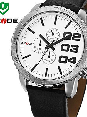 WEIDE Men Military Sports Luxury Oversized Style Genuine Leather Strap Quartz Watch