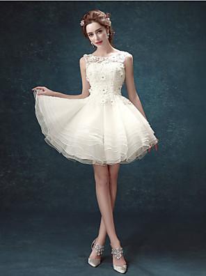 גזרת A שמלת כלה  קצר \ מיני מחשוף עמוק תחרה עם
