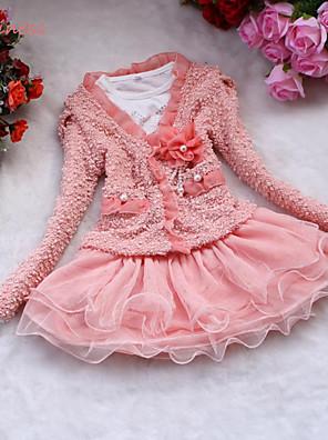 Dívka je Jednobarevné Zima / Jaro / Podzim Šaty Bavlna / Polyester / Síťovina Růžová / Bílá