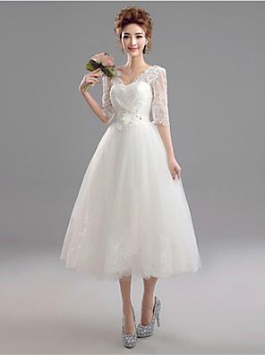 Linha A Vestido de Noiva Longuette Decote V Renda / Tule com