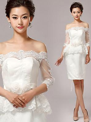 Tubinho Vestido de Noiva Curto / Mini Ombro a Ombro Renda com