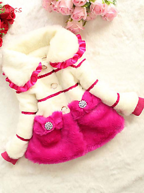 Girl's Winter/Spring/Fall Micro-elastic Thick Long Sleeve Down & Cotton Padded (Cotton/Faux Fur/Polyester)