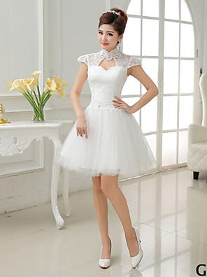קצר \ מיני טול סטי Mix & Match שמלה לשושבינה - גזרת A / נסיכה צווארון גבוה / עם תכשיטים / מחשוף עמוק / צווארון וי עם