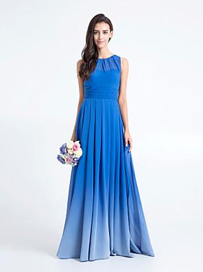 Lanting Bride® Na zem Šifón Barevná záře Šaty pro družičky - Pouzdrové Kopeček Větší velikosti / Malé s Sklady