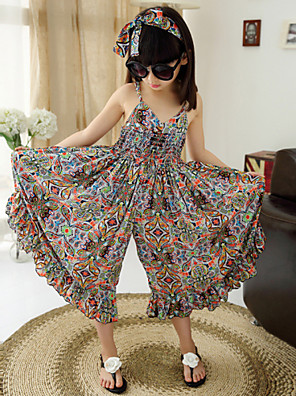 Girl's Cotton/Polyester Fashion Floral Straped Beach Loose Overall & Jumpsuit