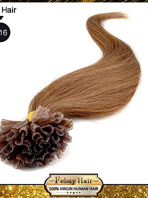 u tip søm pre-bundet fusion hair extensions keratin negle tip jomfru brazilian menneskehår 0,5 g / s 100g / pc 1pc / lot