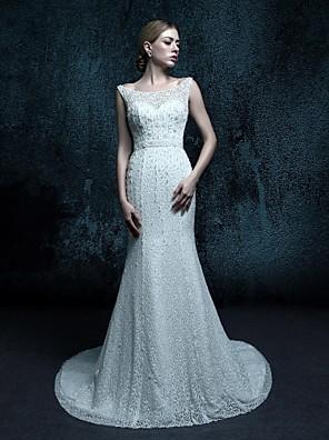 시스 / 칼럼 웨딩 드레스 스윕 / 브러쉬 트레인 스쿱 레이스 와