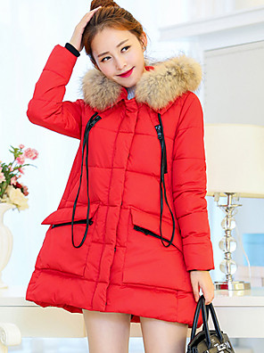 Women's Solid Blue / Red / White / Black / Brown / Silver Parka Coat , Sexy / Casual Round Neck Long Sleeve