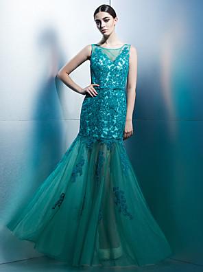 ts couture® noche formal / lazo negro vestido de gala de ajuste& llamarada primicia piso de longitud de tul con aplicaciones