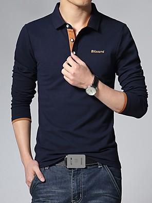 לוגו מכתב אופנת חולצת פולו השרוול הארוך של גברים