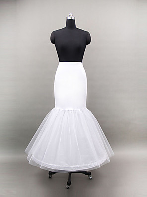 תחתונית  בת ים וסליפ שמלת חצוצרה אורך עד לרצפה 2 רשתות בד טול / פוליאסטר לבן
