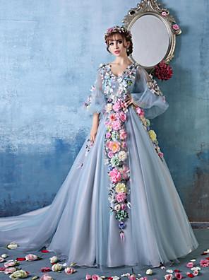 ערב רישמי שמלה נשף צווארון וי שובל קתדרלה טול / שרמוז עם פרח(ים)