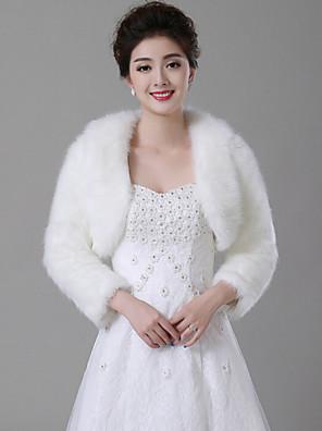 עליונית מפרווה / כורכת חתונה מעילים / מעילים שרוול ארוך דמוי פרווה לבן חתונה צווארון רחב נוצות / פרווה