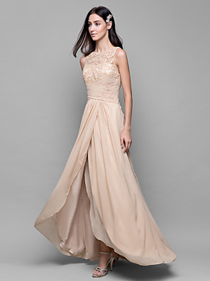 Lanting Bride® Assimétrico Chiffon / Renda Vestido de Madrinha Linha A Canoa com Renda / Cruzado