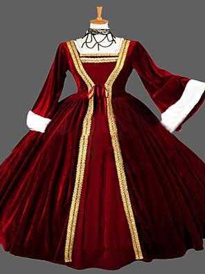 Jednodílné/Šaty Gothic Lolita Steampunk® / Viktoria Tarzı Cosplay Lolita šaty Červená Retro Dlouhé rukávy Long Length Šaty Pro Dámské