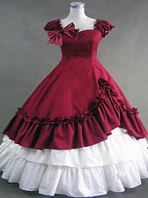 Jednodílné/Šaty Gothic Lolita Steampunk® Cosplay Lolita šaty Červená Retro / Patchwork Bez rukávů Long Length Šaty Pro DámskéBavlna /