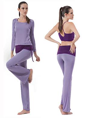 ריצה מכנסיים / מדים בסטים לנשים שרוול ארוך נושם מודלים יוגה / פילאטיס / כושר גופני HaiYunLai בגדי ספורט מתיחה הצגה ורוד / סגול בהיראביב /