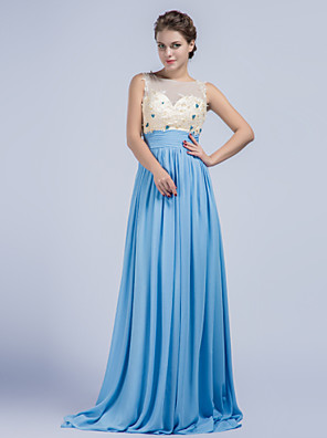 Formal Evening Dress Sheath / Column Jewel Sweep / Brush Train Chiffon with Appliques / Beading / Ruching