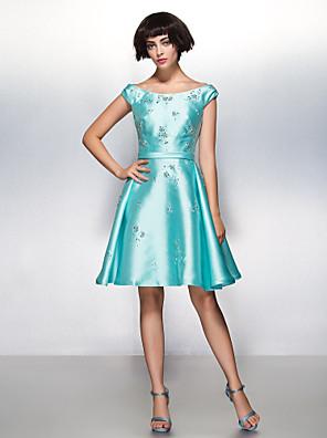 칵테일 파티 드레스 A-라인 스쿱 무릎 길이 새틴 와 비즈