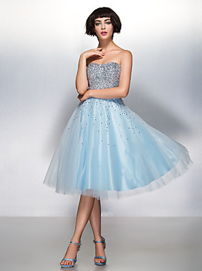 TS Couture® Cocktail Party Dress A-line Sweetheart Knee-length Organza / Tulle with Sequins
