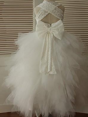 נשף באורך הקרסול שמלה לנערת הפרחים - תחרה / טול ללא שרוולים רצועות עם