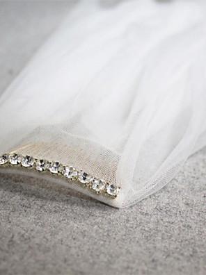 """הינומות חתונה שתי שכבות צעיפי אצבע חיתוך קצה 45.28 אינץ' (115 ס""""מ) טול לבן / שנהב"""