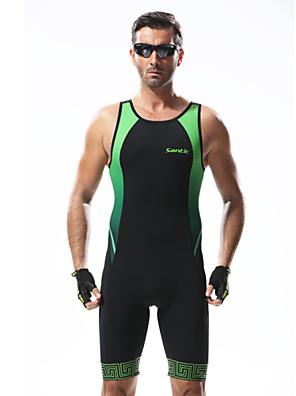 SANTIC® חליפת טריאתלון לגברים נושם / נגד חשמל סטטי / 3D לוח / מפחית שפשופים אופניים קרב שלושה 100% פוליאסטר טלאיםספורט פנאי / רכיבה על
