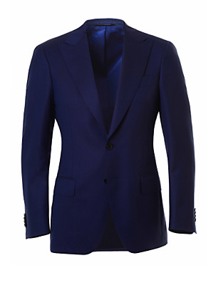 חליפות גזרה מחוייטת סגור Single Breasted Two-button צמר פסים שני חלקים כחול דש ישר ללא (חלק קדמי שטוח) כחול ללא (חלק קדמי שטוח) כפתורים