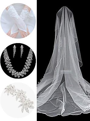 bryllup tilbehør, der er (slør& handsker& hovedklæde& halskæde& øreringe)