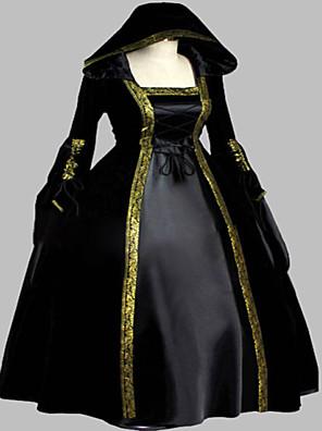 Jednodílné/Šaty Gothic Lolita Steampunk® / Viktoria Tarzı Cosplay Lolita šaty Inkoustová modř Retro Dlouhé rukávy Long Length Šaty Pro