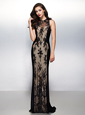 Formal Evening / Black Tie Gala Dress Sheath / Column Jewel Sweep / Brush Train Lace with Lace