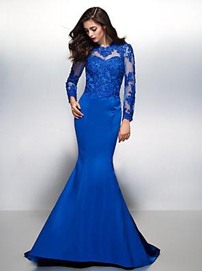 ts couture® avondjurk - mooie achtertuin trompet / mermaid juweel rechter trein kant / satijn met kant