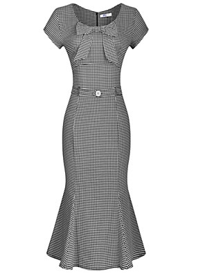 Women's Retro 50s Slim Decoration Bow Short Sleeved Fishtail Dress