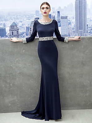 TS Couture® Formal Evening / Black Tie Gala Dress Sheath / Column Scoop Sweep / Brush Train Jersey with Crystal Detailing
