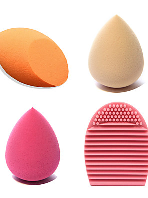 4pcs Beauty Makeup Blender Blending Foundation Smooth Sponge++Brush Cleaning Tool