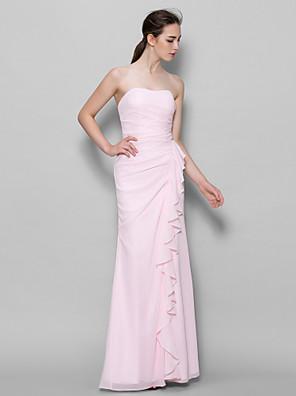 Lanting Bride® באורך הקרסול שיפון שמלה לשושבינה  מעטפת \ עמוד מחשוף לב עם קפלים מדורגים
