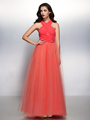 Lanting Bride® Na zem Šifón / Tyl Různorodé šaty Šaty pro družičky - A-Linie Do V s