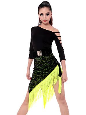 Dança Latina Roupa Mulheres Actuação Raiom / Poliéster Borla(s) 2 Peças Saia / TopTop S:46m / M:47cm / L:48cm / XL:49cm Skirt S:45-69m /