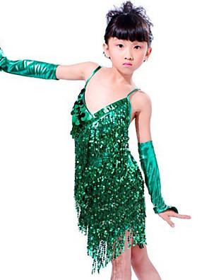 Latinské tance Úbory Dětské Výkon Filtrový Palety barev / Střapce 3 kusy Bez rukávů Rukávy / ŠatySkirt length : 68cm Suitable for height