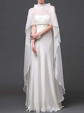 כיסויי ראש ופונצ'ו / כורכת חתונה שכמיות בלי שרוולים טול שנהב / לבן חתונה / מסיבה / ערב / קז'ואל צוואר גבוה קפלים אפודה