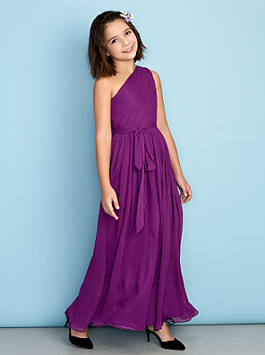 Ankle-length Chiffon Junior Bridesmaid Dress - Mini Me A-line One Shoulder with Side Draping